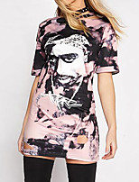 Women's Casual/Daily Simple Summer T-shirt,Print Round Neck Short Sleeve Polyester Medium