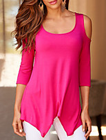 Damen Solide Einfach Ausgehen T-shirt,Rundhalsausschnitt Sommer ½ Länge Ärmel Polyester Dünn