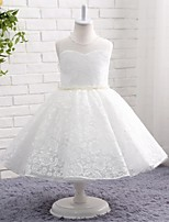 A-line Knee-length Flower Girl Dress - Lace Tulle Jewel with Bow(s) Embroidery Lace Pearl Detailing