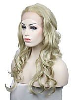 Moda luz dourada rendas frente perucas para as mulheres longas ondulado sintéticas cabelo traje perucas para senhoras