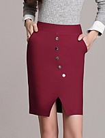 Women's Mid Rise Going out Casual/Daily Work Above Knee Skirts A Line Solid Summer