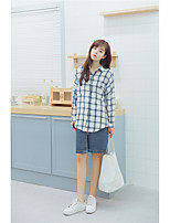 Women's Casual/Daily Simple Shirt,Plaid Shirt Collar Long Sleeve Cotton
