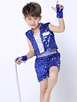 Jazz Outfits Kid's Performance Spandex Sequined 4 Pieces Sleeveless Natural Top Bracelets Shorts