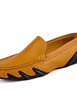 Черный Коричневый Синий-Для мужчин-Для прогулок Для офиса Повседневный-Кожа-На плоской подошве-Удобная обувь-Мокасины и Свитер