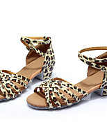 Customizable Women's Dance Shoes Leatherette Latin Flats Customized Heel Indoor Leopard