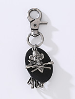 The New Punk Man's Vintage Cowhide Alloy Key Ring The Pirate Skull Key Ring To Decorate The Decoration
