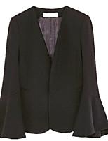 Women's Work Simple Spring Summer Blazer,Solid Notch Lapel Long Sleeve Regular Others