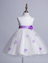Princess Knee-length Flower Girl Dress - Satin Tulle Jewel with Bow(s) Flower(s) Sash / Ribbon