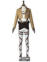 Inspired by Attack on Titan Eren Jager Anime Cosplay Costumes Cosplay Suits Solid Long SleeveTop Pants Apron Belt More Accessories