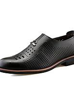 Hombre-Tacón Plano-Zapatos formales zapatos Bullock-Oxfords-Boda Informal Fiesta y Noche-Semicuero-Negro Morrón Oscuro