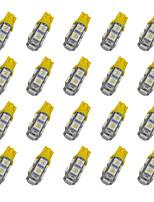 20шт t10 9 * 5050 smd светодиодная лампа автомобильного желтого света dc12v