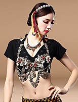 Belly Dance Tops Women's Performance Cotton Polyester Metal Coins 1 Piece Bra