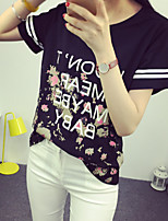 Women's Casual/Daily Simple T-shirt,Letter Round Neck Short Sleeve Cotton