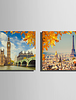 E-HOME Stretched Canvas Art The Eiffel Tower And Big Ben in Autumn  Decoration Painting One Pcs