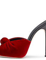 Women's Red Velvet High Heel Sandals Ladies Peep Toe Bowknot Spring Summer Slingback Wedding Office Career Party Evening Dress Stiletto Heels