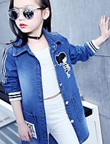 Women's Casual/Daily Vintage Fall Denim Jacket,Solid Peter Pan Collar Long Sleeve Regular Linen