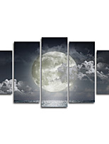 Canvas Print Landscape Modern Moon SeaFive Panels Canvas Horizontal Panoramic Print Wall Decor For Home Decoration
