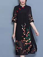 Women's Plus Size Casual/Daily Simple Loose Dress,Embroidered Stand Midi ½ Length Sleeve Polyester Summer Mid Rise Micro-elastic Medium