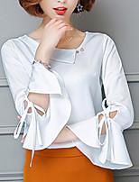 Для женщин На выход На каждый день Лето Осень Блуза V-образный вырез,Простое Богемный Однотонный Длинный рукав,Шёлк Хлопок,Плотная