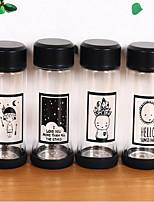 2Pcs Cartoon Drinkware 300 ml Portable Glass Water Water Bottle Random Pattern