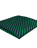 CH19 Business Men's Pocket Square Handkerchiefs Blue Green Stripes 100% Silk Wedding Casual New Unique