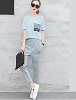 Damen einfarbig Gestreift Einfach Aktiv Lässig/Alltäglich Urlaub T-Shirt-Ärmel Hose Anzüge Sommer Kurzarm