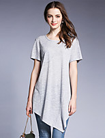 Women's Going out Casual/Daily Simple Street chic Summer T-shirt,Solid Round Neck Short Sleeve Cotton Polyester Medium