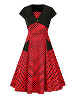 Women's Plus Size Casual/Daily Vintage Sheath Dress,Polka Dot V Neck Midi Short Sleeve Cotton Summer Mid Rise Micro-elastic Medium
