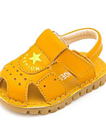 Kids' Sandals Summer First Walkers Cowhide Casual Flat Heel Yellow Black White