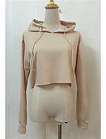 Women's Casual/Daily Hoodie Solid Round Neck Micro-elastic Rayon Long Sleeve