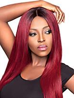 Schwarze Wurzel t1b / burgundy menschliches Haar volle Spitzeperücken seidiges gerade 100% peruanisches reines Haar justierbare
