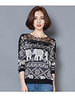 Damen Punkt Retro Urlaub T-shirt,Rundhalsausschnitt ½ Länge Ärmel Polyester Mittel