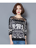 Tee-shirt Femme,Points Polka Vacances Vintage ½ Manches Col Arrondi Polyester Moyen