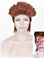 Siyi longues perruques en fibre résistant à la chaleur de style rock perruque brune rouget droites pour hommes, femmes