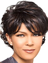 Short Black 11inch 165g Highlighted Curly top Full Synthetic Wig Women lady wigs WS548