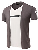 4 Colors Plus Size M-3XL Men's Casual/Daily Simple Summer T-shirt Solid Color Block Round Neck Short Sleeve Cotton Medium