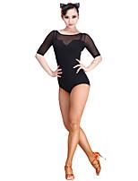Danse latine justaucorps Femme Spectacle Tulle Fibre de Lait 1 Pièce Manchon de longueur de 3/4. Collant