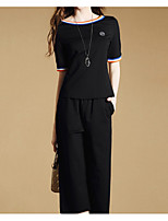 Women's Going out Work Sophisticated T-shirt Pant Suits,Solid Round Neck Micro-elastic
