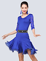Shall We Latin Dance Outfits Women Performance Polyester / Lace / Milk Fiber /Ruffles 3 Pieces Dance Costume