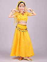 Belly Dance Outfits Kid's Performance Chiffon Spandex Tulle Coins Sequins 4 Pieces Short Sleeve Dance Costume Natural Top / Veil / Hip Scarf / Skirt