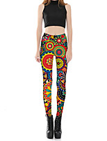 Mujer Sexy Adorable Tiro Medio Microelástico Chinos Pantalones,Pitillo Estampado Floral