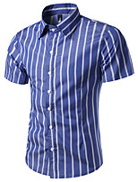 Men's Casual/Daily Simple Shirt,Solid Shirt Collar Short Sleeve Blue Red White Black Cotton
