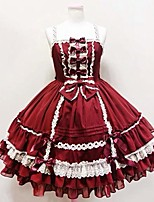One-Piece/Dress Sweet Lolita Princess Cosplay Lolita Dress Red Blue Solid Knee-length Dress For Cotton FRP