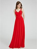 LAN TING BRIDE Floor-length V-neck Bridesmaid Dress - See Through Sleeveless Tulle