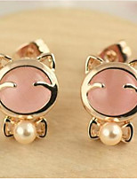 Han Edition Sweet Classic  Adorable   Opal Bowknot Pearl Earrings Plutus Cat Earrings