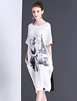 Women's Going out Casual/Daily Vintage Simple Shift Dress,Print Round Neck Knee-length Short Sleeve Cotton Linen Summer Mid Rise Inelastic