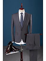 Suit Slim Fit Flat Collar Single Breasted One-button Soild Colour 3 Pieces Dark Grey