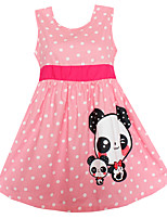 Girls Dress Fashion Pink Dot Panda Party Birthday Pageant Princess Children Clothes