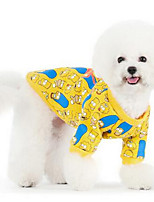 Cães Camiseta Roupas para Cães Verão Flor Fofo Da Moda Casual Amarelo