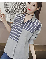 Women's Casual/Daily Simple Shirt,Striped Square Neck Long Sleeve Cotton